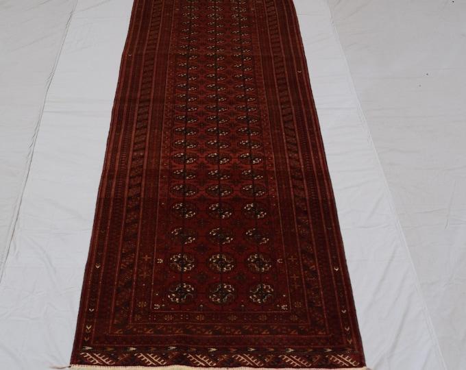 Vintage handmade Turkmen Tekke rug runner, Tribal wool runner rug