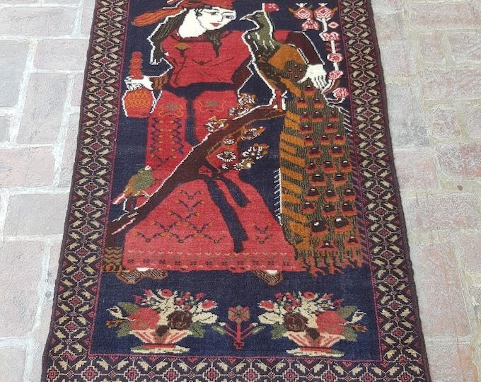 Handmade afghan rug, Laila with peafowl pictorial rug, Home decor rug, Living room rug, Drawing room rug
