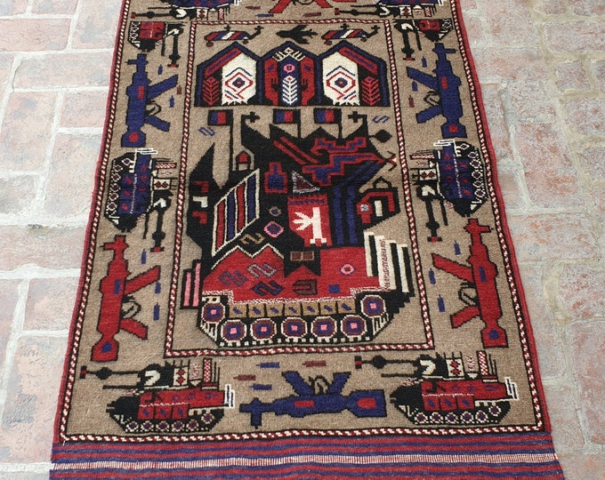 Afghan Hand Knotted War Rug 2'10 x 4'9 (ft)