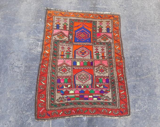 Afghan Vintage Prayer rug, Handmade Afghan Baluch rug, Free Shipping