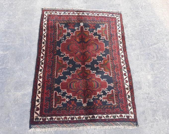 3'0 x 4'2 Vintage Afghan handmade rug - Tribal wool rug - Kitchen rug - turkish rug - Afghan rug