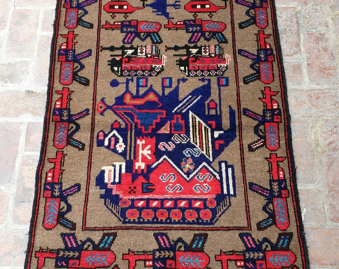 Afghan Hand Knotted War Rug 93 x 150 (cm)