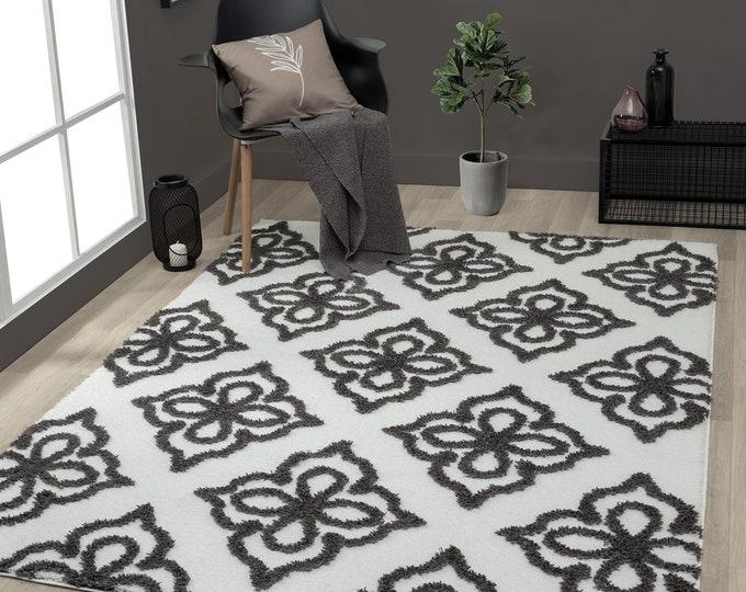 8 x 10 Mellow Hollow Shag onyx/cream Area Taupe Rug, Moroccan rug - Modern rug, Living Room Rug, Tribal Rug, Free Shipping 10 x 13 Rug