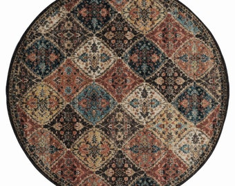 8x8 Round Rug Marrakesh Amira Multi Traditional Rug, Living Room Rug, Bedroom Rug, Tribal Look Carpet, 6x9 Rug, Traditional 8x8 Round Rug