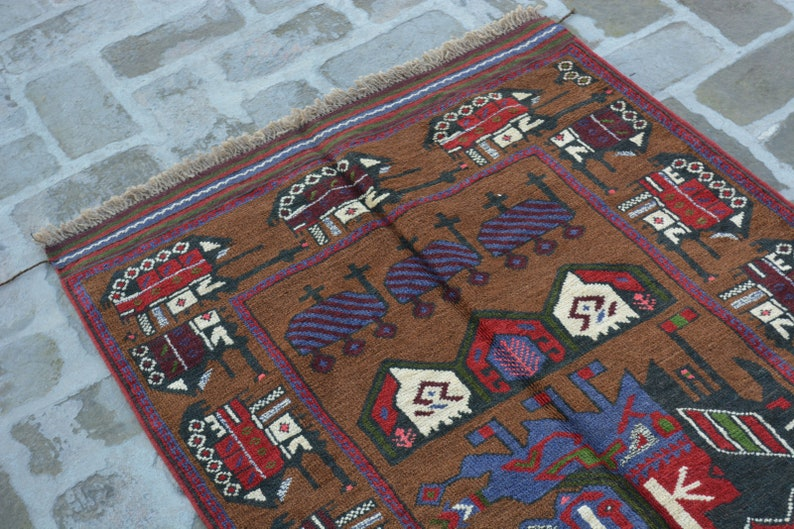 Elegant Afghan tribal War rug  Free Shipping 85 x 145 cm