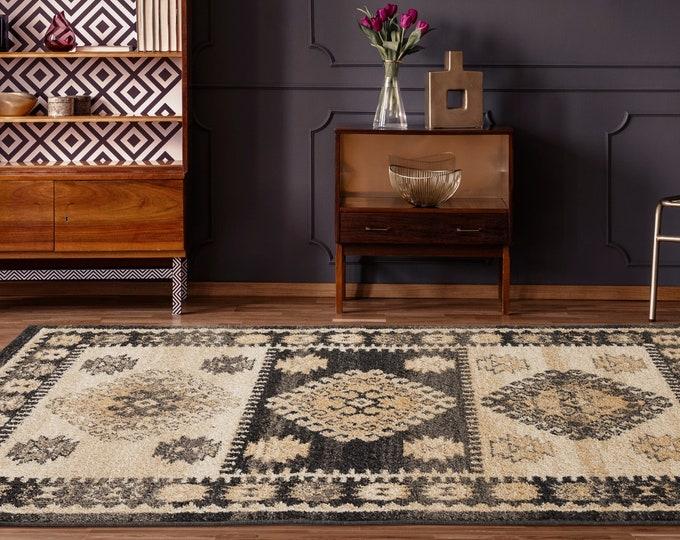 9x12 Rugs Marrakesh Emir Walnut Traditional Rug, Living Room Rug, Bedroom Rug, Tribal Look Carpet, 8x10 Rug, Traditional 9x12 Rug