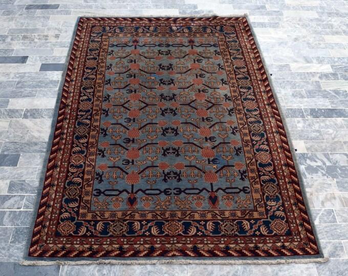 "Antique 5'0"" x 7'10"" Khotan Rug Pomegranate Hand Knotted Wool Rug Art Deco Rug 1940s - FREE SHIPPING, Bedroom rug, Livingroom rug"
