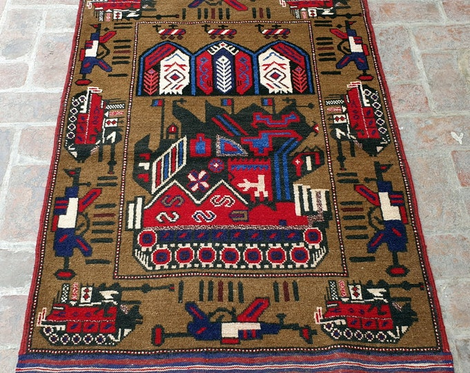 Afghan Hand Knotted War Rug 3'3 x 4'8 (ft)