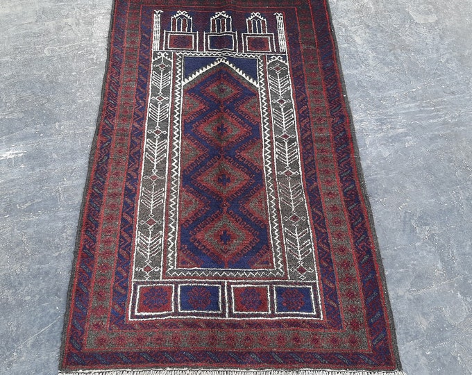Afghan vintage prayer baluchi rug - old handmade prayer rug - free shipping