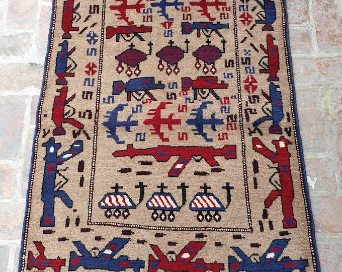 Afghan Hand Knotted War Rug 94 x 143 (cm)
