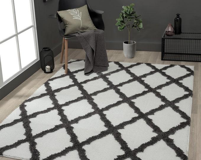 Rugs 8x10 Mellow Magnolia Black/White Modern Area Rug, Living Room Rug, Bedroom rug, Moroccan Rug, Berber Rug, Free Shipping, Rug 10x13