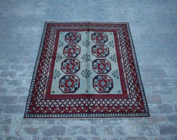 Stunning hand knotted Afghan tribal filpai wool rug / Decorative rug vintage afghan traditional rug