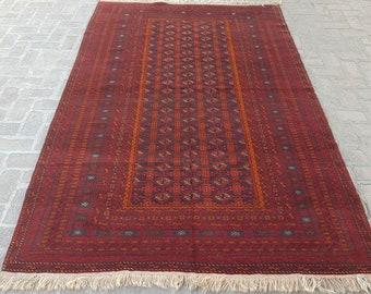 Large Afghan area rug, Living room rug, Bedroom red rug, Tribal handmade rug, Free shipping
