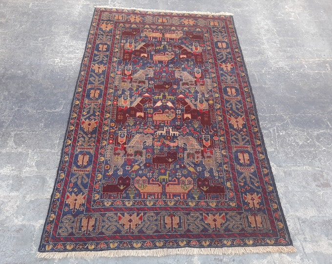 Vintage handmade Tribal pictorial rug  - Free Shipping