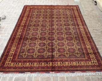 250 x 375 Afghan Turkmen Hand knotted rug / Living room rug / Decorative Large area rug / Free shipping