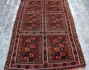 3'10 x 5'11 ft. - Antique Turkmen Tekke rug - Old handmade rug - Antique decor rug - Bedroom rug - Living room rug - Free Shipping