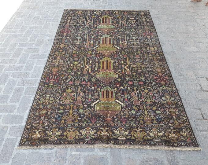 Semi Antique Handmade Large Afghan Pictorial rug, Decorative rug, Elegant rug, Bedroom rug, Living room rug