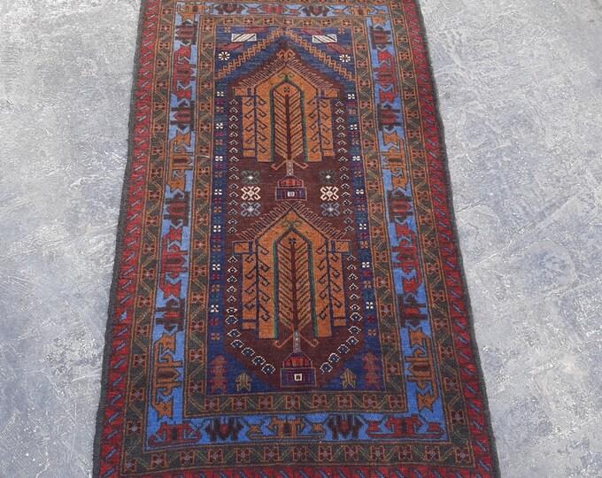 Afghan tribal baluch geometric rug 2'9 x 6'4 - handmade tribal wool rug
