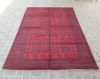 Vintage Large Afghan area Qalamdani rug, Living room rug, Bedroom red rug, Tribal handmade rug, Free shipping