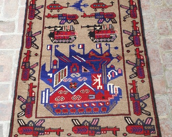 Afghan Hand Knotted War Rug 96 x 145 (cm)