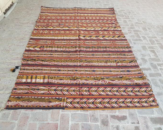 Vintage Afghan Gajari kilim rug , Tribal Flatweave Gajari kilim, Free Shipping