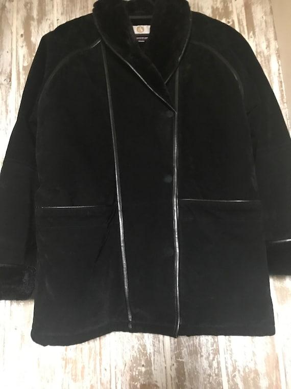 Vintage Black Sheepskin Jacket, Shearling