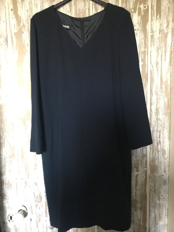 Vintage Jean Muir Navy Wool Shift Dress