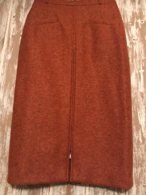 Vintage Orange / Rust Wool Straight Skirt