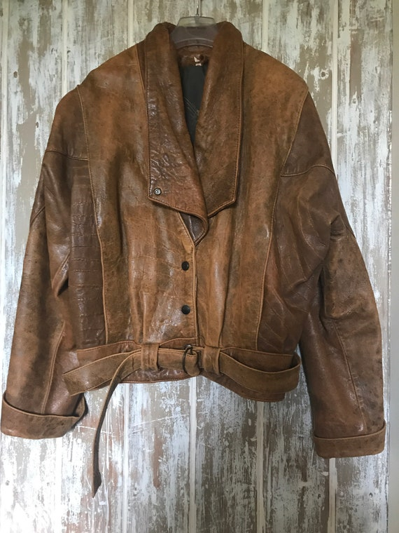 Vintage Tan Leather Batwing Sleeve Jacket