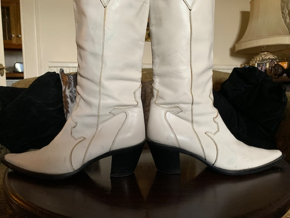 Vintage White Leather Cowgirl, Cowboy Boots - image 4