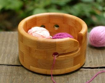 Yarn Bowl Handmade of Natural Alder Wood, Knitting Organizer Gift, Yarn Holder for Crocheter