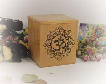 Wood Om Symbol Desk Organizer, Namaste Yoga Lover Gift, Ohm Sign Mandala Tea Caddy, Square Buddhist Candy Box, Zen Lotus Treasure Chest