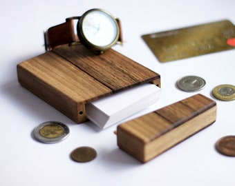 walnut business card holder natural wood wallet minimalist credit card case office storage handmade pocket organizer groomsmen gift idea - Wooden Business Card Holder