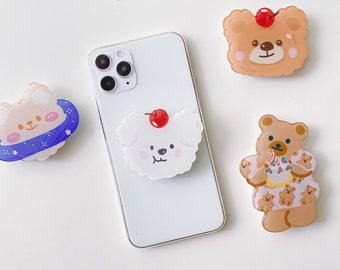 Cute plush bear pop socket teddy bear pop socket mobile phone grip holder bear phone grip holder cute pop socket fun pop socket