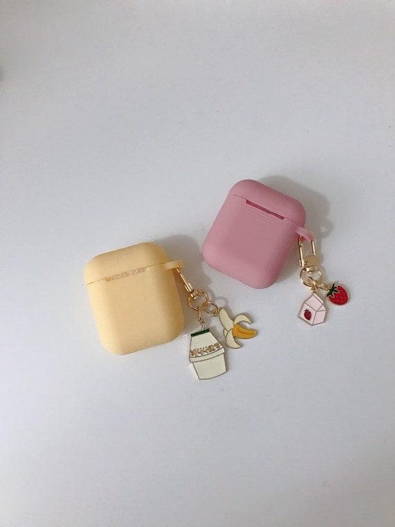 Korea Banana Milk And Strawberry Milk Airpods Case Keychain Etsy