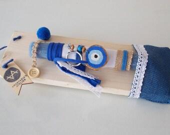 Easter gifts for boys etsy blue evil eye candle greek lambada easter gift for godchild greek easter candle negle Images