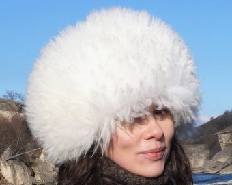 Russian real fur hat Snow white trapper hat Sheepskin papakha Animal skin  hat Unusual winter fur hat Women s fur hat Men s fur hat UNISEX 9faa454eb086