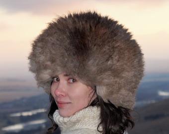 1ff767d0431 Unisex fur hat Real fur hat Russian trapper hat Sheepskin papakha Brown  gray fur hat Unusual winter fur hat Fur hats for men Women s fur hat