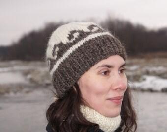 Pure wool beanie Hand knitted hat Warm winter hat Thick wool beanie  Scandinavian knitted hat Knitted norveg hat Russian wool hat UNISEX a34dc0e9cca