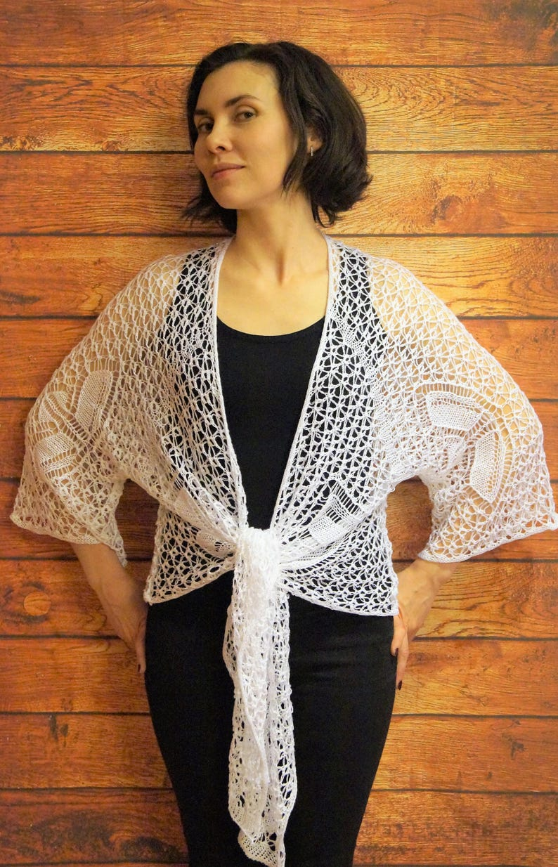 ac0a00ae866 Bridal bolero Knitted snow white cardigan Lace knitted