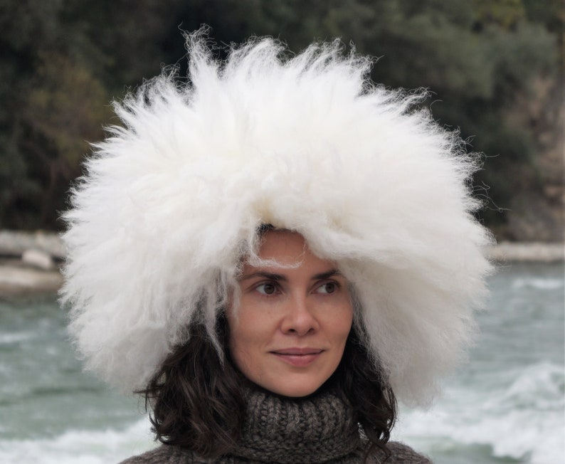 b2c63e4d85417 Russian papakha Snow white real fur hat Big sheepskin hat   Etsy