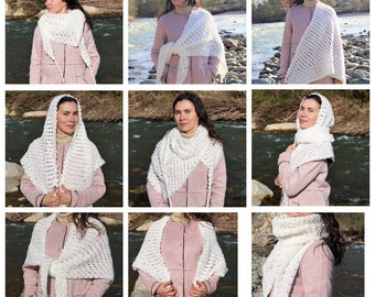 Versatile Cover Up, Crocheted Shawl, Hand Knitted Wrap, Large White Scarf, Overdized Scarf, Chunky Scarf, Triangle Scarf, Crochet Bactus