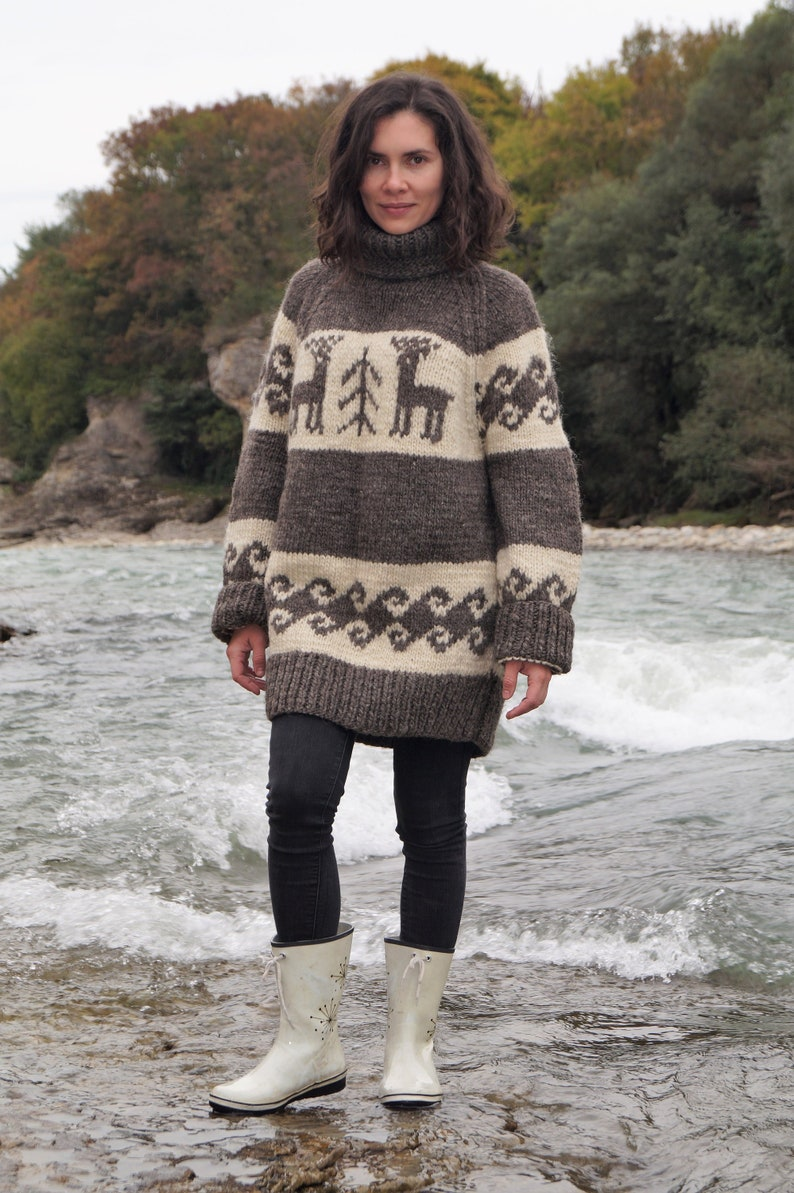 5af799850f7 Hand knitted oversized sweater Reindeer jumper Chunky wool