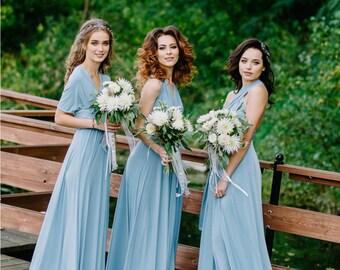Dress bridesmaid silk crepe - ceremony or party 100% handmade pastel color hand high range custom S, M, L, XL, XXL