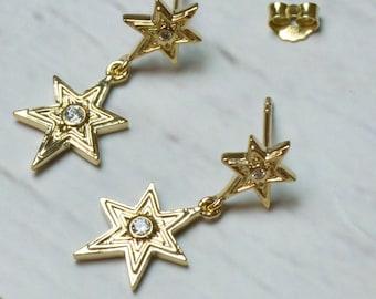 Gold-plated star earrings, hanging earrings