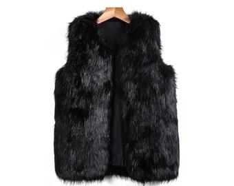 bab3636d5a25 Gilet fausse fourrure sans manche - gilet sans manches imitation renard  pour femme couleur noir très doux magnifique tissu France