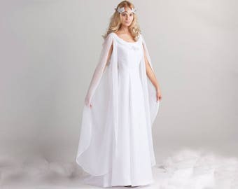1f0246a0f58 Medieval wedding dress - medieval style dress for wedding elven color white  crepe and chiffon with train made in France