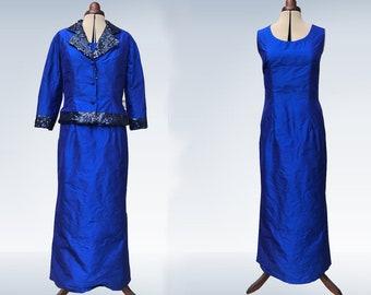 601906967104a Robe longue soie sauvage couleur bleu roi pour cérémonie, mariage, mère  maman de la mariée avec veste en soie et paillettes col rond