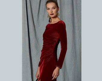 Robe soiree velours rouge