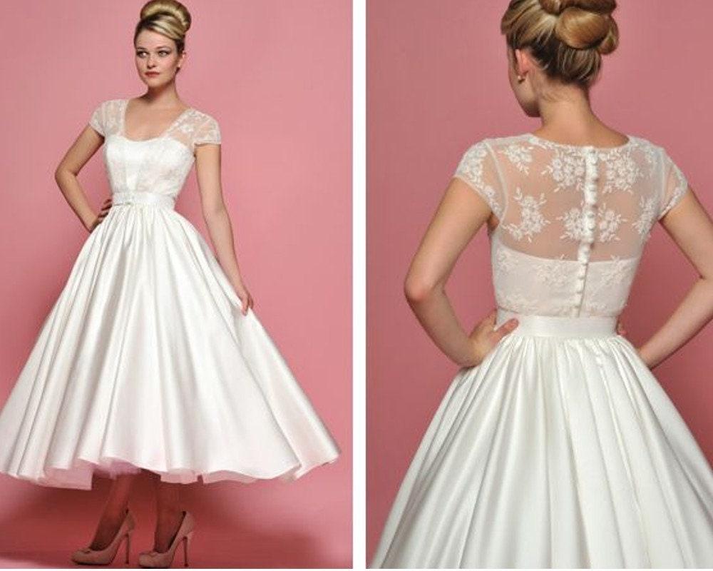Robe Ceremony Wedding Style 50s 60s Wedding Gown Short Tea